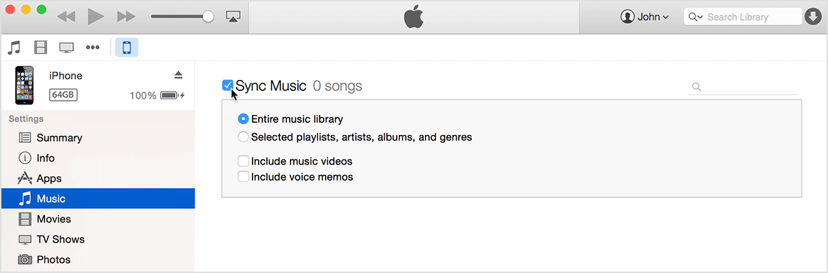sync music to iphone